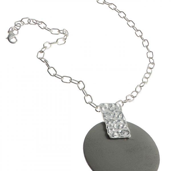 Worn Silver La Lune Pendant Necklace