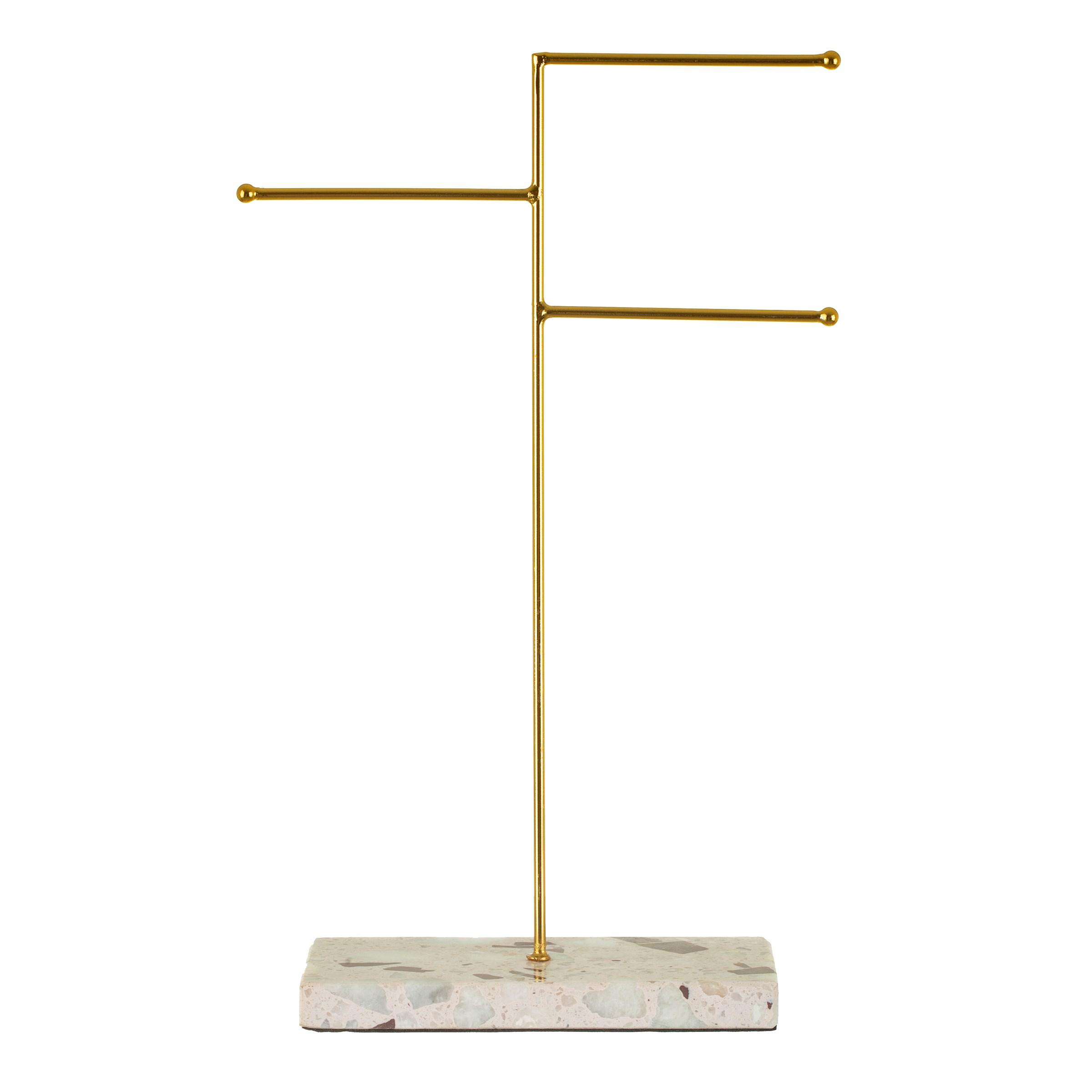 Triple Terrazzo Gold Jewellery Stand