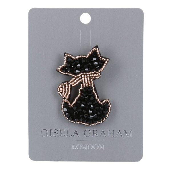 Black Cat Jewelled Brooch