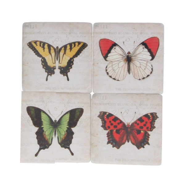 Bright Butterflies Set of 4 Coasters