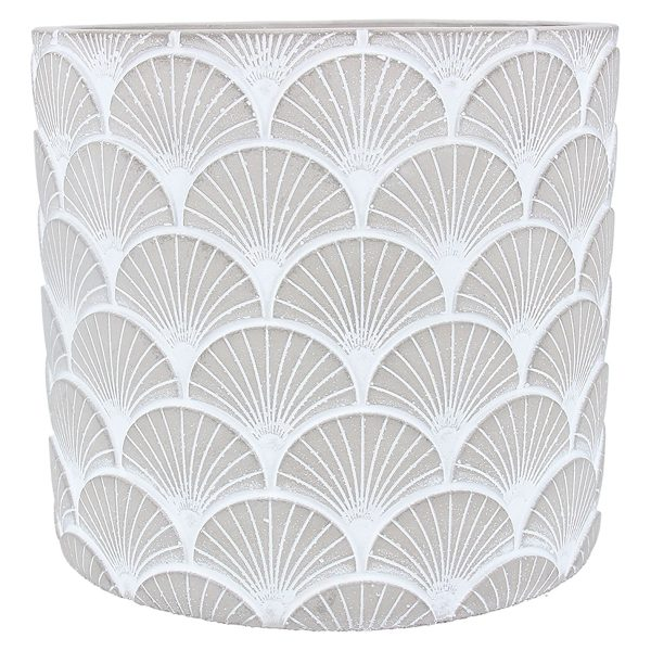 Two Tone Fans Stone Effect Pot Cover