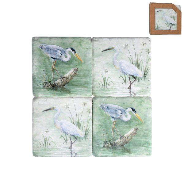 Watercolour Egret Set of 4 Coasters