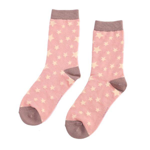 Dusky Pink Star Socks