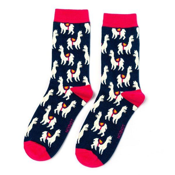 Navy Llama Socks