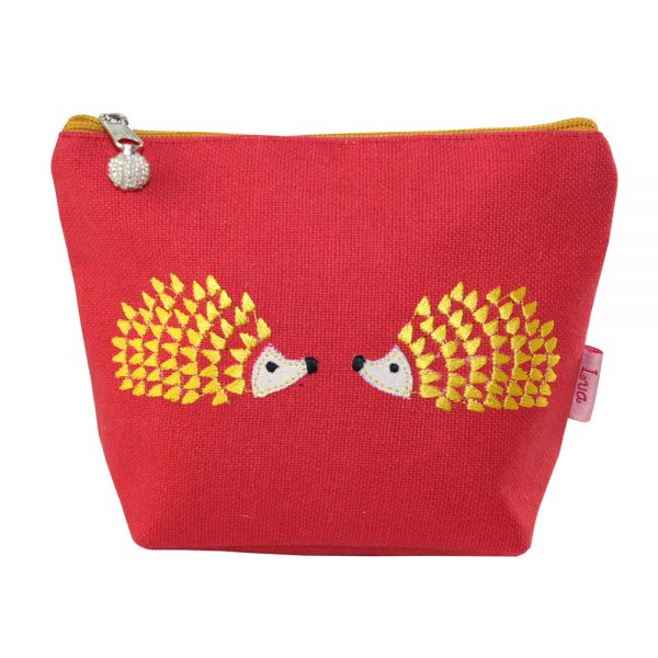 Coral Embroidered Hedgehog Small Cosmetic Purse