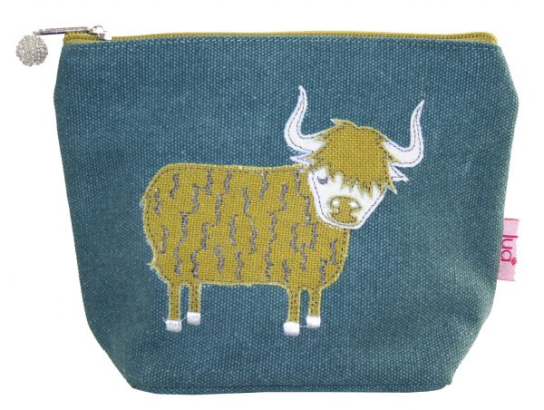 Teal Highland Cow Small Cosmetic Purse