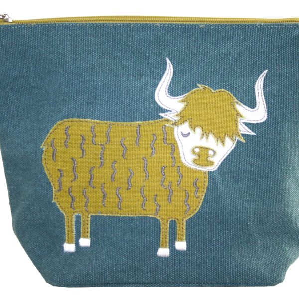 Teal Highland Cow Large Cosmetic Purse