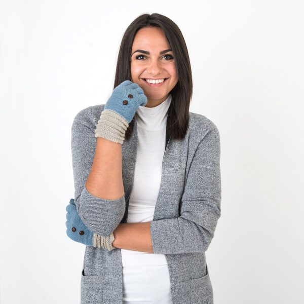Blue Buttoned Ladies Gloves