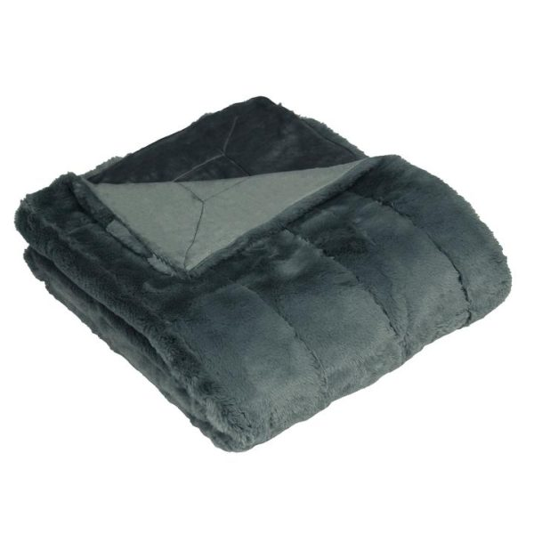 Chester Faux Fur Charcoal Throw