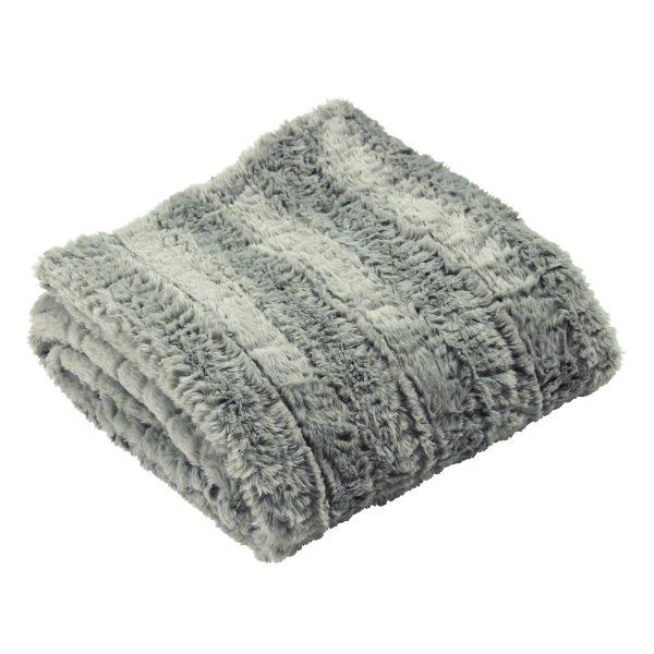 Grey Faux Fur Tundra Throw